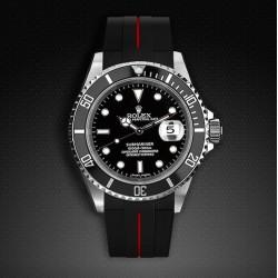 Bracelet RubberB M103 Noir/Rouge
