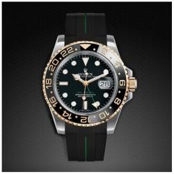 Bracelet RubberB M106CD Noir/Vert avec boucle