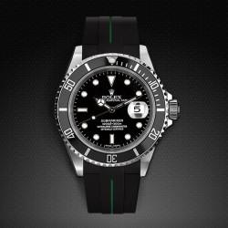 Bracelet RubberB M106 Noir/Vert avec boucle