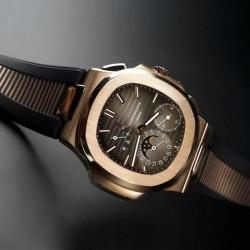 Bracelet RubberB PK77 pour Patek Philippe Nautilus noir & doré