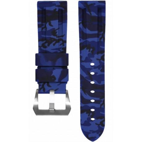 Horus Bracelet Camouflage Caoutchouc pour Panerai bleu