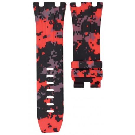 Horus Bracelet Camouflage Rubber Digital Rouge pour APROO 44mm