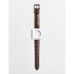 Bracelet Camille Fournet Alligator mat écailles carrées brun roux