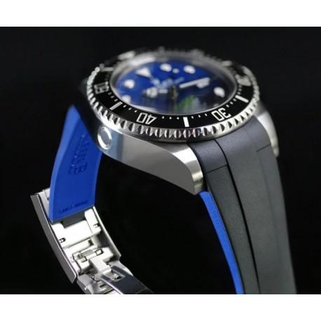 Bracelet RubberB M208 Noir/Bleu pour Rolex Deepsea 126660