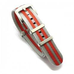 Bracelet Nato Premium - Gris / rouge