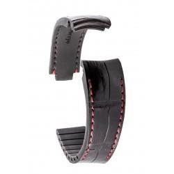 R-Strap Bracelet Aligator pour Rolex - Noir avec surpiqure rouge