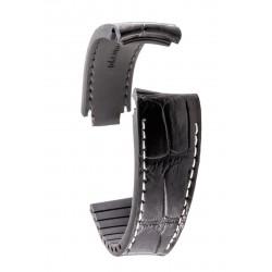 R-Strap Bracelet Aligator pour Rolex - Noir avec surpiqure blanche