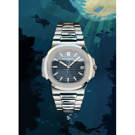 Watchoniste X MisterChrono art printing - 50 shades of blue - 60x80