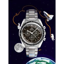 Watchoniste X MisterChrono tirage d'art - moonwatch - 60x80
