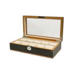 Boîte à montres Clipperton 10 en bois gris avec couvercle en verre