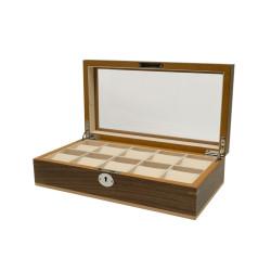 Boîte à montres Clipperton 10 en bois marron avec couvercle en verre