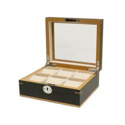 Boîte à montres Clipperton 6 en bois gris avec couvercle en verre