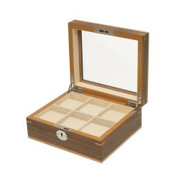 Boîte à montres Clipperton 6 en bois marron avec couvercle en verre