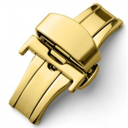 Double folding clasps for leather straps, gold plated