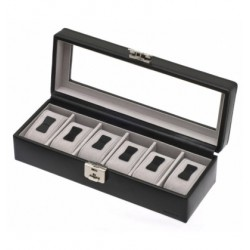 Leather watch box Davidt's with window for 6 watches