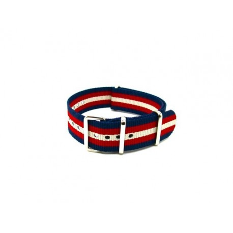 Bracelet nylon NATO bleu/rouge/sable