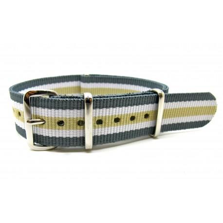 Bracelet NATO nylon gris/blanc/sable