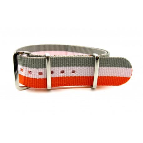 Bracelet NATO nylon gris/blanc/orange