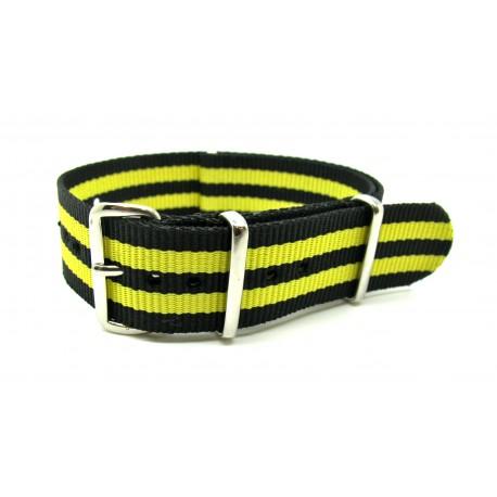 Bracelet NATO nylon noir/jaune
