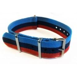 "Bracelet NATO nylon bleu clair/bleu marine/rouge - ""BMW ///M"""